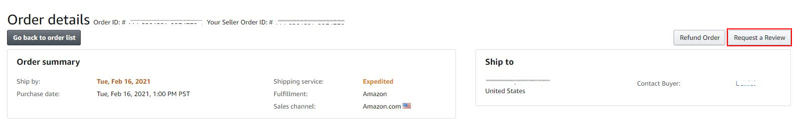 Request a Review Amazon SellerCentral